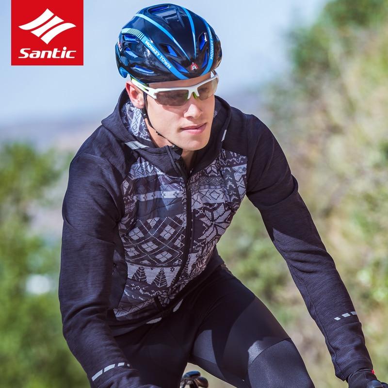 Santic Men Winter Cotton Bicycle Cycling Jacket Autumn Windproof Outdoor Sport Riding Coat Keep Warm MTB Road Bike Jackets Black цена