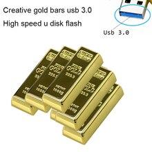 Реальная емкость Золотой слиток USB 3,0 флэш-накопитель карта памяти 64 ГБ 8 ГБ 32 ГБ USB флэш-накопитель Флешка 16 ГБ 128 Гб роскошный подарок