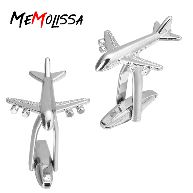 Memolissa Silver Aircraft Design Men's Cuff Links Shirts Jewelry Airplane Shape Cufflinks