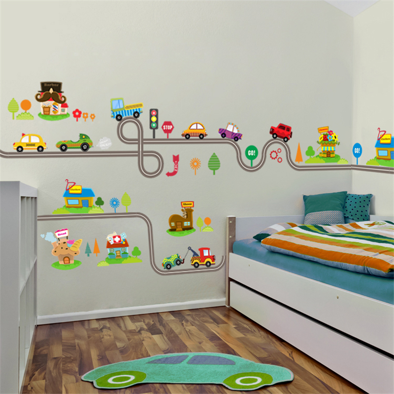 Cartoon Cars Highway Track Wall Stickers For Kids Rooms Sticker Children\'s Play Room Bedroom Decor Wall Art Decals