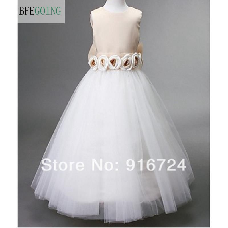A-line Jewel Floor-length Satin and Tulle Sleeveless   Flower     Girl     Dress   with Bow and   Flowers