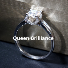 Queen Brilliance 1 ctw F Color Lab Grown Moissanite Diamond Engagement Wedding Ring Genuine 14K 585 White Gold Women Jewelry