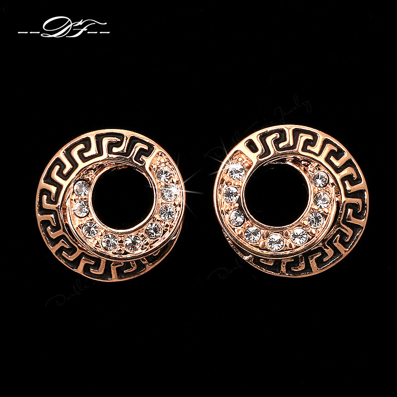 Hot Sale Unique Chic Round CZ Diamond Party Stud font b Earrings b font Wholesale Rose