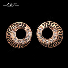 Hot Sale Unique Chic Round CZ Diamond Party Stud Earrings Wholesale Rose/White Gold Plated Wedding Jewelry For Women DFE202M