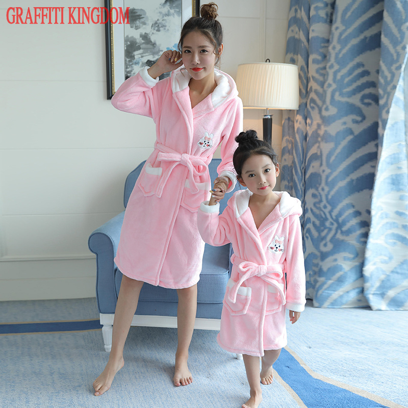 Mother and daughter Winter Robe family clothing Long Sleepwear Bathrobe  girls Bath Robe Homewear Princess Nightgown boutique 47d223d08