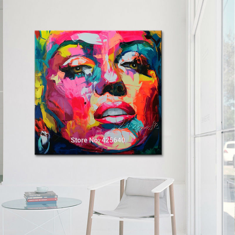 Marilyn Monroe Palette nůž Olejomalba portrét Face impasto postava Umění na plátně Ručně malované Francoise Nielly
