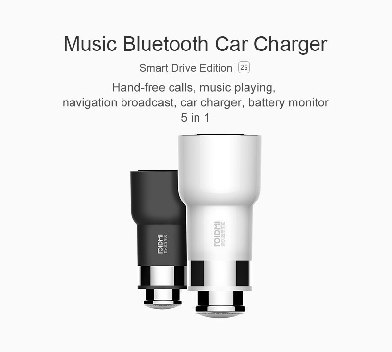 Original Xiaomi ROIDMI ROIDMI 2S 5V 3 8A Bluetooth Handfree Car Charger With Music Player FM