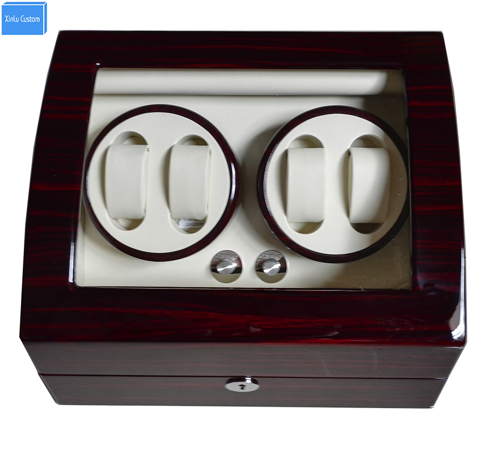 Global Fit Plug/Dry Battery Luxury Gift 4+6 Grids Storgae Mechanical Watch Winder Box Glossy Lacquer Wooden Leather Rotator Case high glossy surface wooden luxury watch winder super silent motor 5 modes watch winder