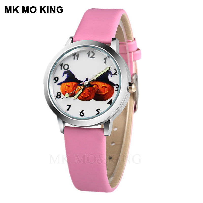 New Smile Pumpkin Cartoon Kids Watch Casual 7 Color Leather Dial Boy Student Sports Clock Cute Girl Child Watch