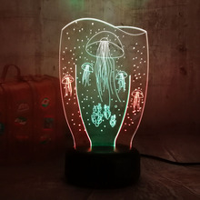 Mixed Dual Color 3D LED Jellyfish Night Light 7 Changing Colors Lamp
