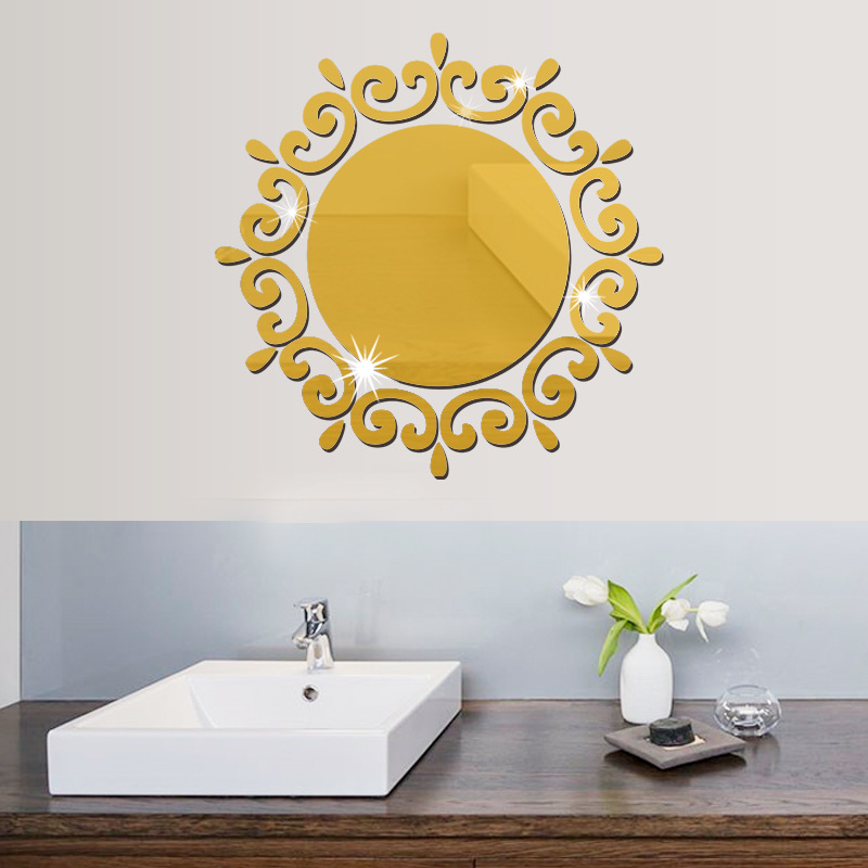 3D Silver Gold Geometry Mirror Wall Stiker Modern Round ...