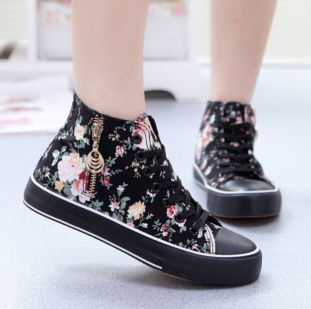 a409de09254e NEW Fashion high top sports sneakers women canvas shoes casual floral  women s gym sport shoes ladies running shoes