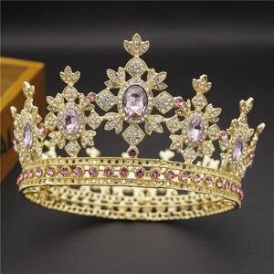 Image 4 - 아름다움 럭셔리 바로크 빈티지 라이트 골드 라운드 diadem 신부 크라운 신부 tiaras 로얄 킹 퀸 웨딩 쥬얼리 헤어 장식품