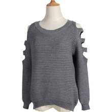 2018 Sweater women's Shoulder Hollow Hole Solid Color Knitting Sweater Quick Sell Women Sweaters And Pullovers Vestidos MMY69132(China)
