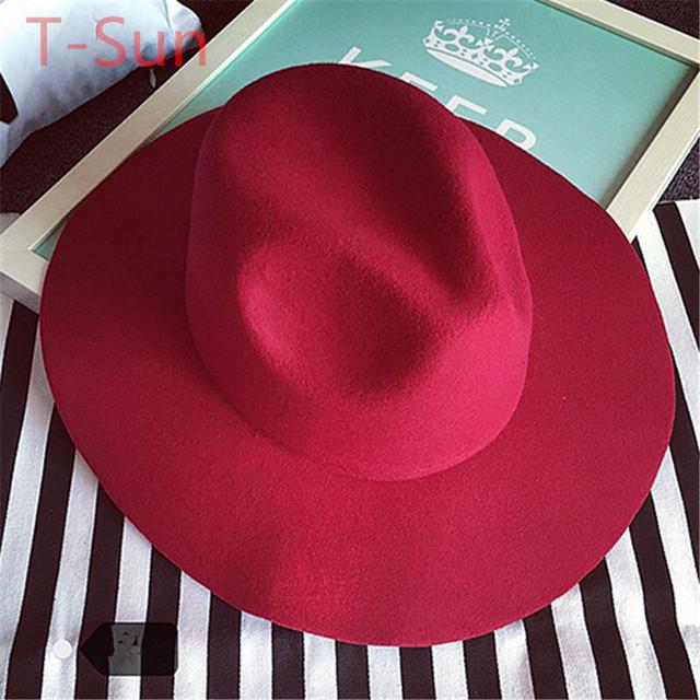 Más nuevo ancho de ala del sombrero del Jazz Caps de lana Summer Sun Beach Cap Cloche sombreros breve tapas de estilo para mujer exterior viajes