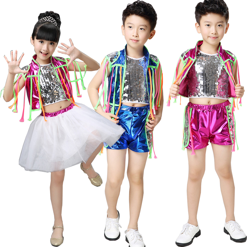 Kids Sequined Hip Hop Jazz Dance Wear Suit Kids Competition Costumes Children Ballroom Dancing Stage Clothing Outfits For Girls