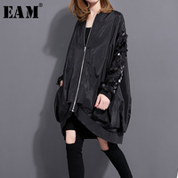 [EAM] 2018 Autumn Winter Fashion New Sequined Collar Long sleeved Coat Loose Large Size Zipper Thin Jacket Women Coat 1023A1