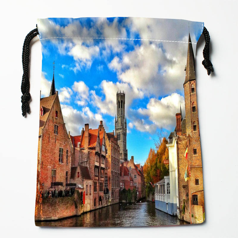 Custom Belgium printed Satin storage bag drawstring gift bags More Size storage custom your image 27x35cm