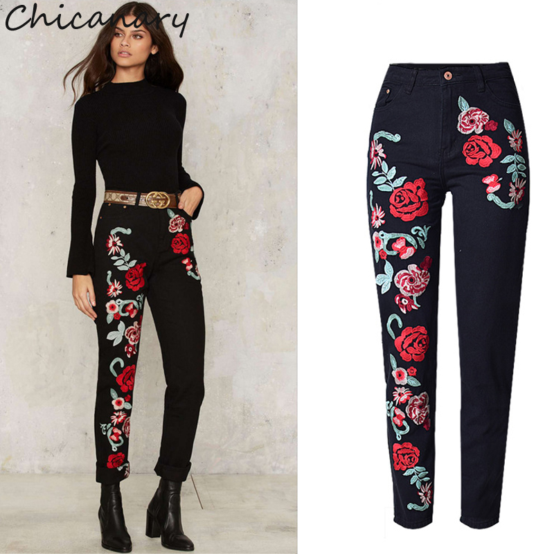 Chicanary Women s 3D Stereo Embroidered Rose Straight Pants Fashion Plus Size High Waist Casual Pants