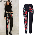 Chicanary Women's 3D Stereo Embroidered Rose Straight Pants Fashion Plus Size High Waist Casual Pants