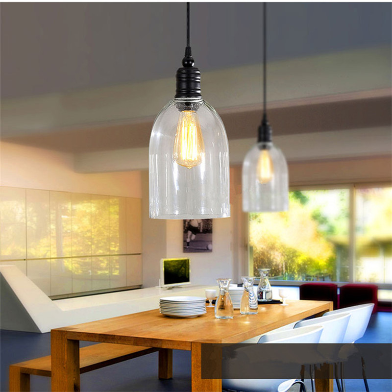Glass Pendant Lights For Kitchen Island: Clear Glass Modern Pendant Lights Industrial Lighting