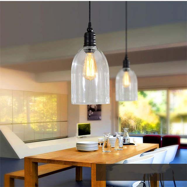 Clear Glass Modern Pendant Lights Industrial Lighting Fixtures Kitchen  Island Pendant Light Antique Mini Pendant Ceiling Lamp