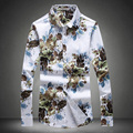 Men Print Slim Fit Shirt Long Sleeve New Fashion Brand Clothing Anti-wrinkle Tee Casual Floral Blouses Camisa Plus Size 5XL