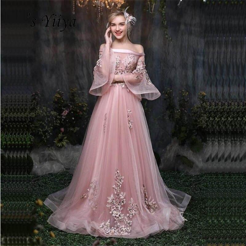 C'est Yiiya rose fleurs Floral Illusion impression à lacets a-ligne élégante robes de soirée longueur de plancher robe de soirée robes de soirée LX032