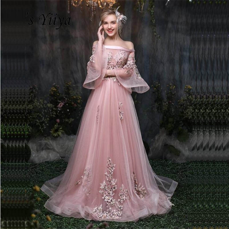 It's Yiiya Pink Flowers Floral Illusion Print Lace Up A-line Elegant   Evening     Dresses   Floor Length Party Gown   Evening   Gowns LX032