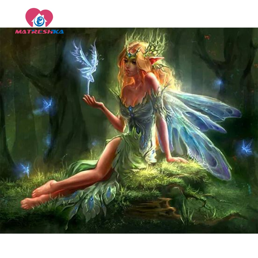 Diamond painting fairy pictures rhinestones diamond mosaic for Paintings of crystals