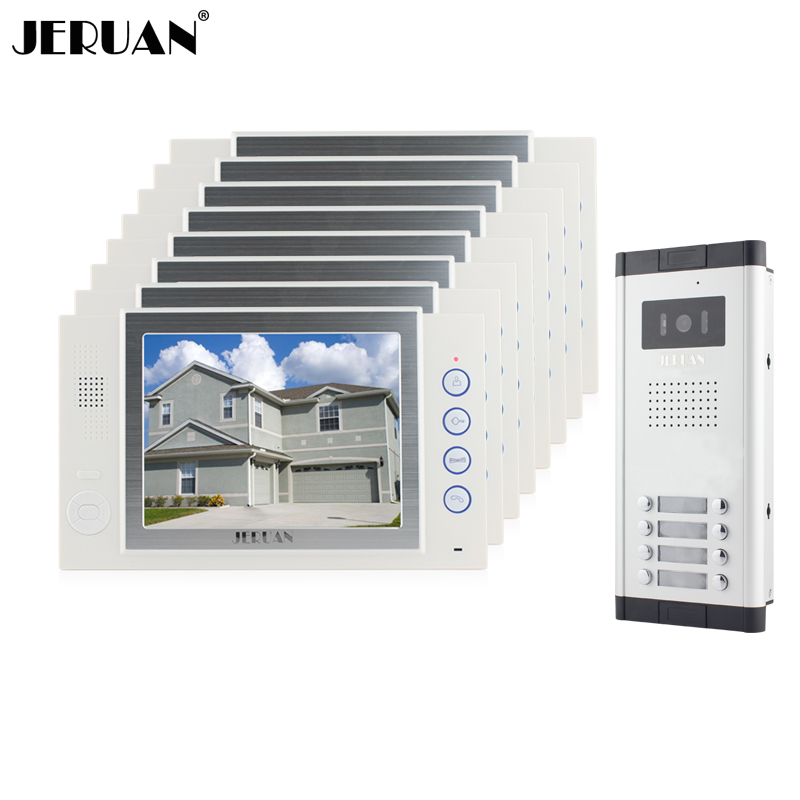 JERUAN Brand New Apartment Intercom 8`` LCD Video Door Phone Doorbell intercom System for 8 house 1V8+8GB card+free shipping brand new apartment intercom 7 inch lcd screen video door phone doorbell intercom system 1v 10 for 10 house free shipping