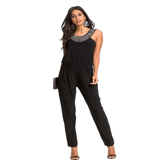 Womens Little Black Romper Jumpsuits Slivery Sequin Patchwork