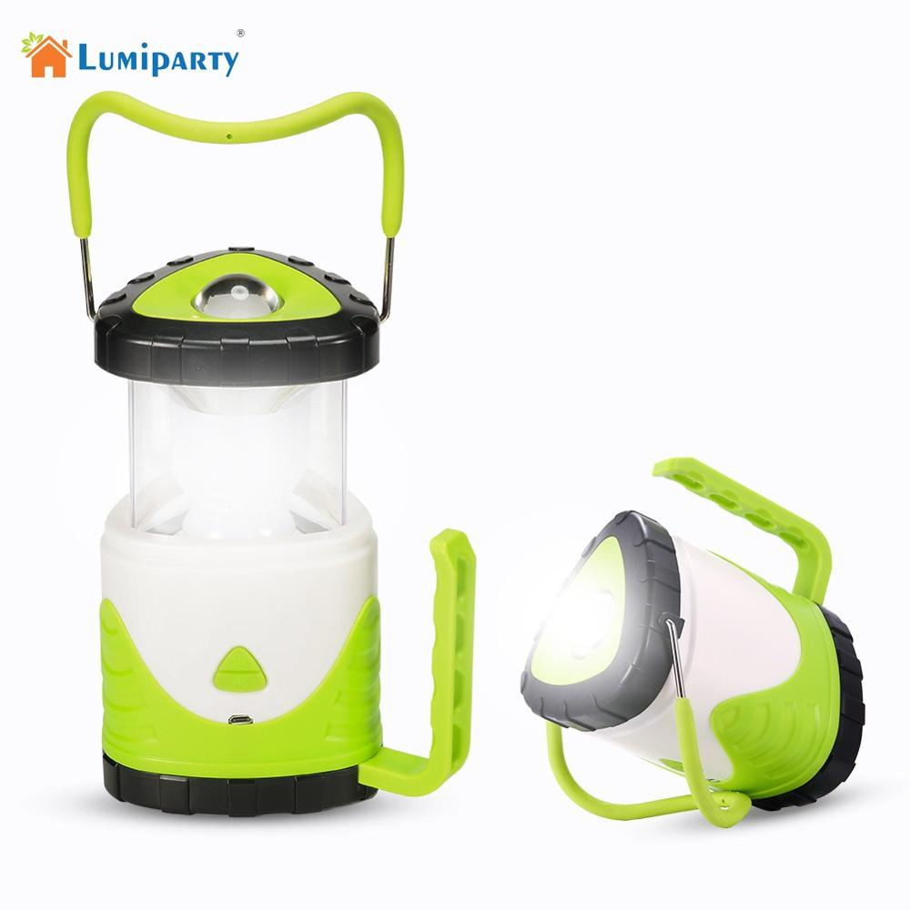 Lumiparty Portable LED Lantern Triangular Collapsible USB Rechargeable Hurricane Lamp Night Light for Hiking Camping Emergency