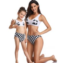 panda mother daughter swimwear family matching outfits look mommy and me clothes mom daughter swimsuits plaid bikini dresses(Hong Kong,China)