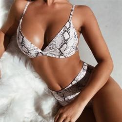 Wysokiej talii Bikini Push Up Bikini zestaw Leopard stroje kąpielowe kobiety Sexy strój kąpielowy kobiet wąż drukuj Buquini Plus rozmiar SwimmingSuit 198 6