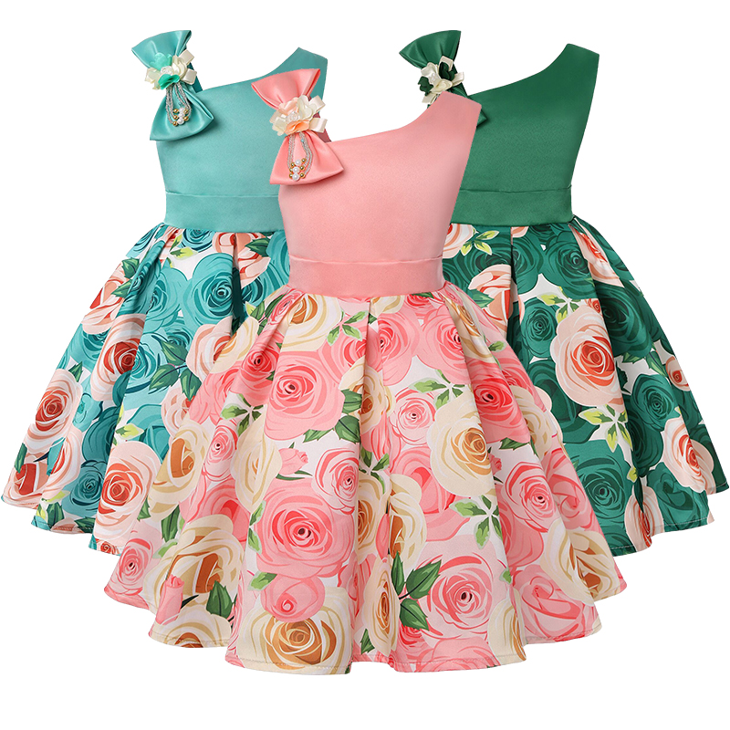 2019 new children's dress slant shoulder girl dress rose print dress dress party children's wear 1