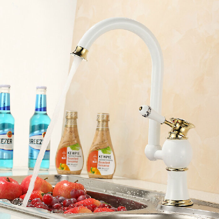 New Style High quality fashion design kitchen basin mixer Hot and Cold faucet brass material white