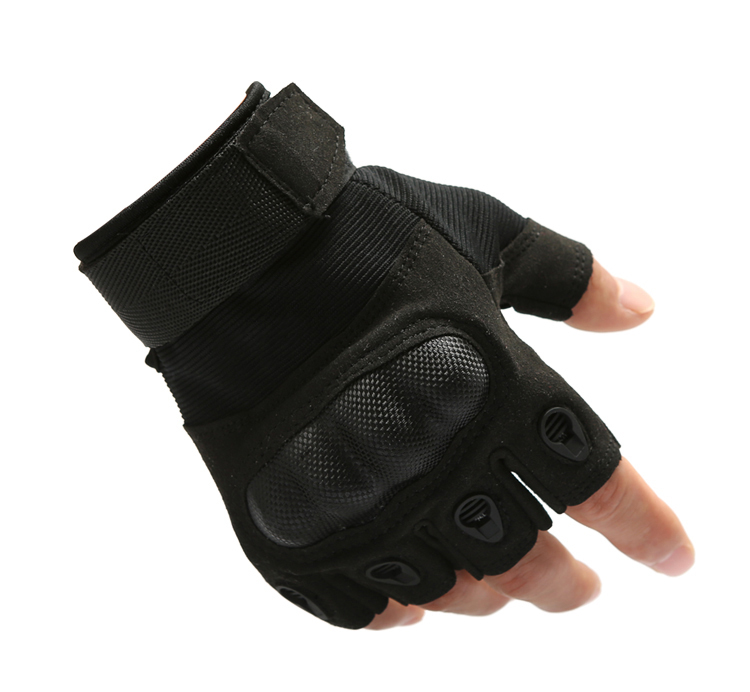 TACVASEN Men Half Finger Gloves Army Military Tactical Gloves Motocycel Bicycle Mittens Black Leather Gloves