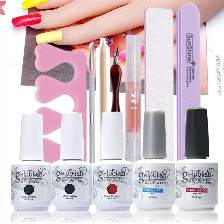 ФОТО Beauty Nail Art Manicure Tools 9W LED Lamp + 3 Color soak off Gel nail base gel top coat polish with Remover set File kit