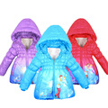 2016 New winter Cute Baby Girl Frozen Coat Print Cartoon Graffiti Hooded Girls Jacket Toddler Children Outerwear Kids clothes