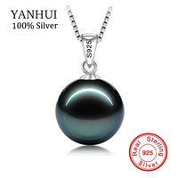 BIG 90 OFF Original Flawless Black Pearl Pendant Necklace With Solid 925 Silver Chain Necklace Wedding