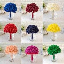 New Design Romantic Rose Flowers Foam Ribbon Crystal Bouquet Artificial Wedding Flowers Bridal Bouquets Bridesmaid Decoration