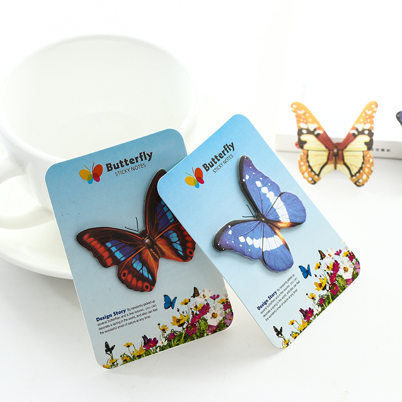2Pcs/Lot Hot Sale Colorful Beautiful Butterfly Post It N Times Memo Pad Notebook Student Sticky School Label Gift E0747