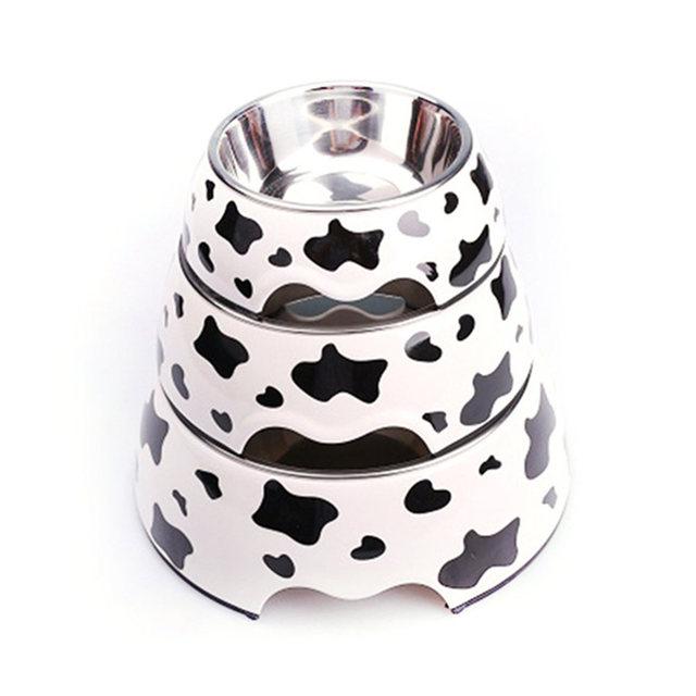 Free Shipping Black White Polka Dot Dog Product Pet Bowls Cat Feeder Food Water Bowl