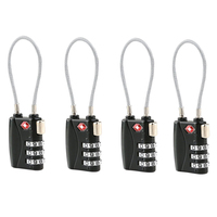 4pcs TSA Approved Cable Luggage Lock With 3 Digit Combination Password Black
