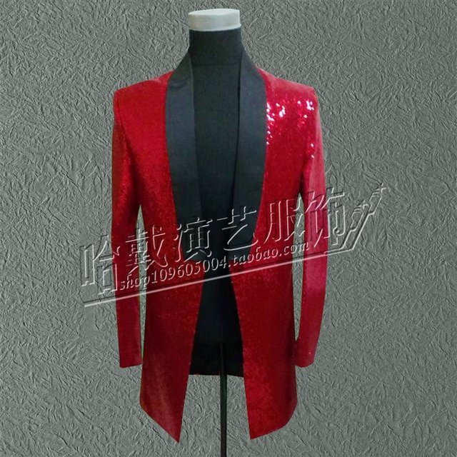 S-5XL!!! 2018   A male singer costumes Red piece of dust coat Bar nightclub stage costumes  The singer's clothing