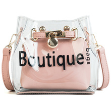 MONNET CAUTHY Summer New Fashion Bags Sweet Transparent Jelly Crossbody Candy Bucket Bag Color Pink Green Sliver Black Lady