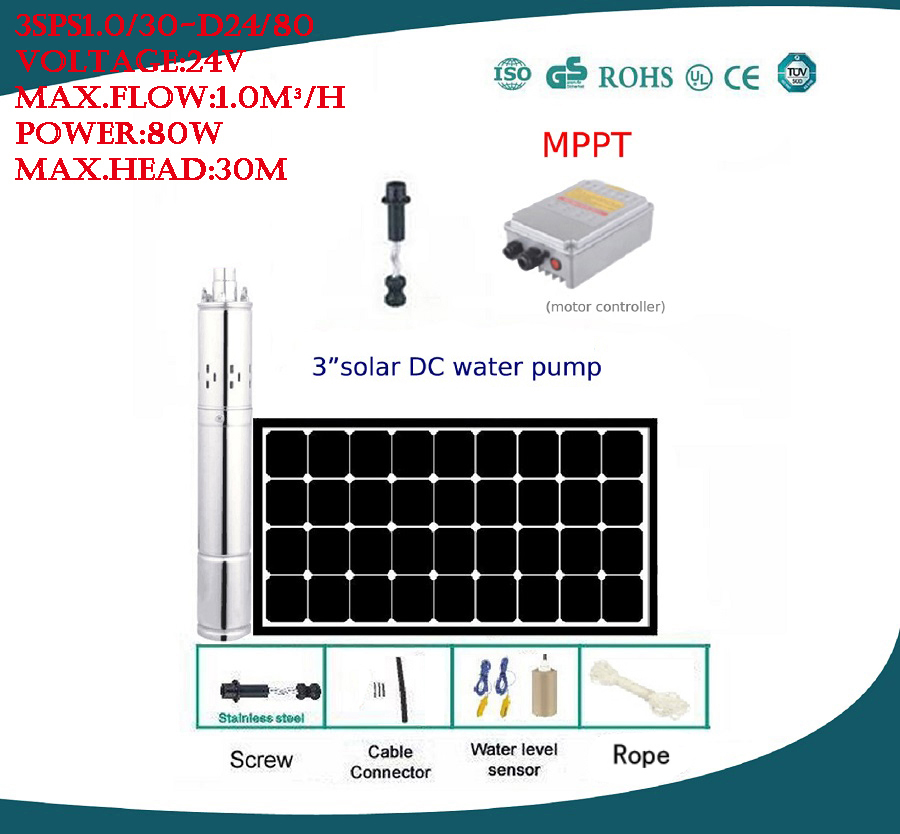 Free Shipping DC 24v brushless solar pump max.flow rate 1.0m3/h agriculture irrigation 3 years warranty 3SPS1.0/30-D24/80