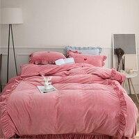 Thick fleece winter korea style bedding sets soft warm queen king size pink blue grey green red 4pcs duvet cover bed linen set