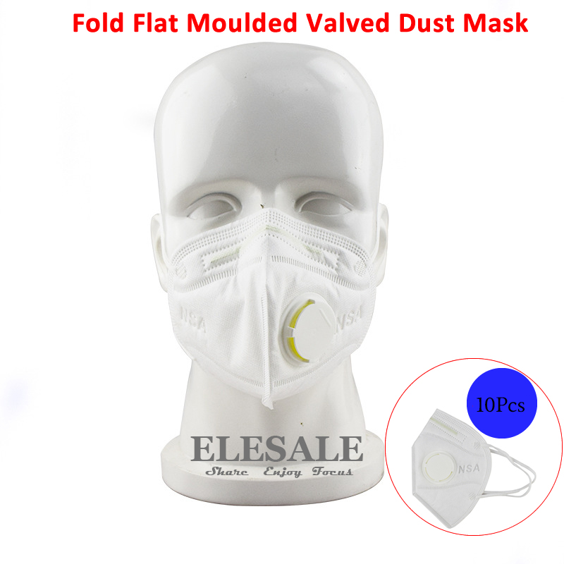 New 10 Pcs Dust Mask Respirator Fold Flat Moulded Valved PM2.5 N95 Safety Filter Disposable Respirator With Valve